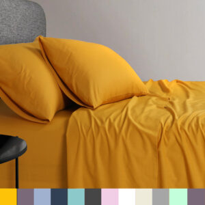 Elan Linen Cotton Bed Sheet Sets in 15 colours and 6 sizes